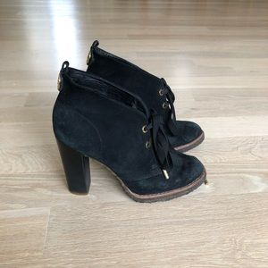 Tory Burch Black Suede and Gold Booties